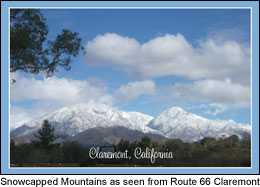 Postcard Claremont CA snowcapped mountains
