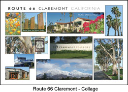 Postcard Route 66 Claremont CA