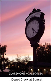 Photo Claremont Depot Clock at Sunset